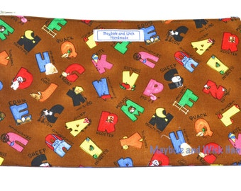Brown Alphabet 'Haswell' Large Pencil Case, handmade pencil case, fabric pencil case