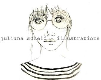 Geek girl - drawing - illustration - digital print - instant download