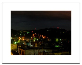Guatemala Night Lights Lanscape | Fine Art Archival Photograph Mounted on Styrene | Ready to Frame | Mission Trip | Nightlife Image