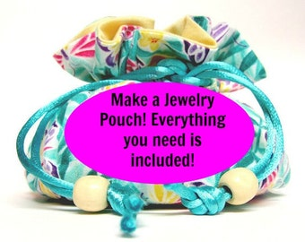Sewing Tutorial / DIY Gift / DIY Sewing Kit / Beginner Sewing Kit / Diy Jewelry Pouch Kit / Jewelry Pouch / Jewelry Travel Bag Kit