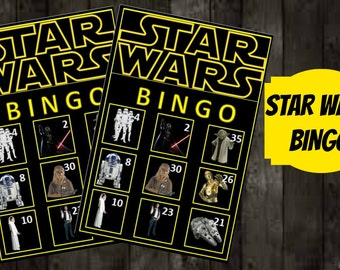 Star wars Bingo Game with 10 unique Bingo cards and 30 medium calling cards - Printable, INSTANT DOWNLOAD