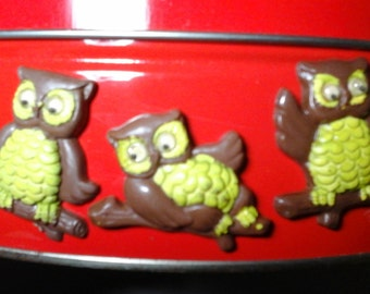 Googlie Eyes Owl Magnets, Vintage Owl Refrigerator Magnets