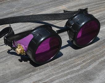 Steampunk, Steampunk Goggles, Steampunk Eyewear, Purple Goggles, Purple Lenses, Gothic Goggles, Gothic Sunglasses, Wasteland Glasses