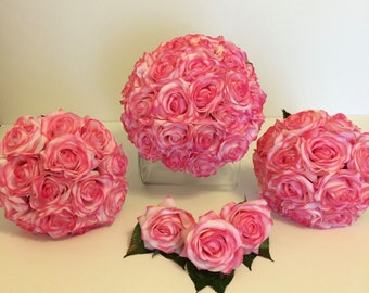 Pink Rose Bridal Bouquet Set, Pink Bridal and Bridesmaids Bouquets, Pink Boutonnieres