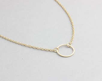 dainty gold filled open circle necklace, minimal karma necklace, delicate necklace, wedding gift