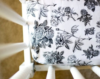 Vintage Floral Black & White Fitted Crib Sheet