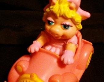Vintage 1986 McDonalds MUPPET BABIES Miss Piggy Car Happy Meal Toy!