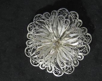 Amazing Vintage Sterling Silver Filigree Brooch Lace Flower Designer Signed JAV