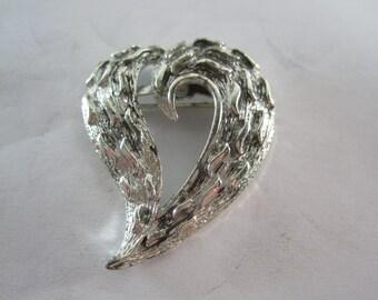 Vintage Designer Costume Brooch Silver Tone Heart