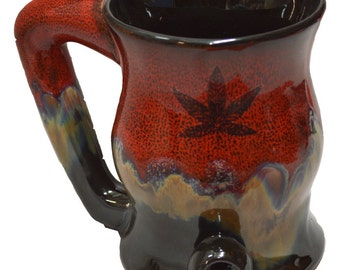 Dreamsicle Wake -n- Bake Mug with Five Point Leaf Design