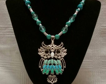 Owl Turquoise Beaded Necklace
