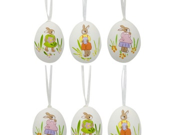 "2.5"" Set of 6 Real Eggshell Hand Painted Bunny Easter Egg Ornaments- SKU # TT-998M-093"