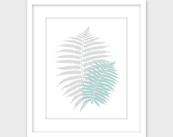 Gray & Turquoise Fern Leaves Print, Grey Gray Turquoise Minimalist Printable Wall Art, Fern Leaf Print Blue Gray Instant Digital Download