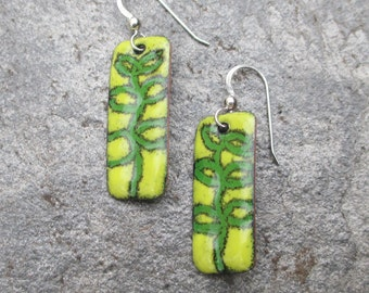 handmade green vine enameled earrings with sterling silver ear wire