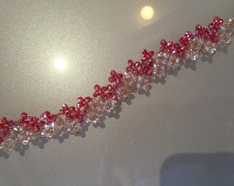 Red crystals bracelet and champagne, hearts, motif clasp
