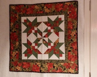 Christmas Stained Glass Quilted Wall Hanging with gold accents