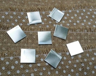 "25 Polished 1"" Inch Squares 14 Gauge 1100 Food Safe Aluminum"
