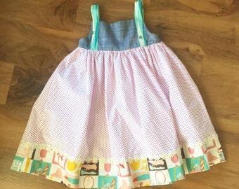 Little Girls Chambray and Polka Dot Mod Dress // Made to Order