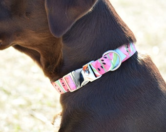 Watermelon Dog Collar- Small, Medium, Large size- 5/8inch, 3/4inch, 1inch- Made to order