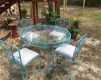 Perfect Wrought Iron Table And Chairs, Outdoor Patio Set, Glass Top Table,  Farmhouse Decor Part 18