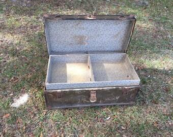 Antique Trunk, Chest, Luggage, Farmhouse Decor, Storage Bin, Container,