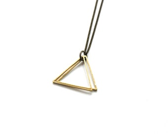 Double Triangle Necklace,  Dainty Necklace, layered necklace, triangle necklace, simple necklace, brass necklace