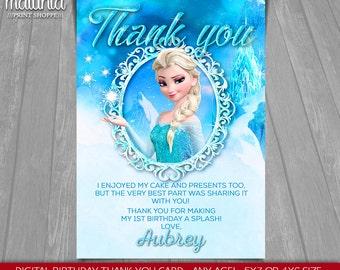 Frozen Elsa thank you card - Disney Queen Elsa card - Frozen Elsa Birthday Greeting Printed or Printable Card - Disney Frozen Party