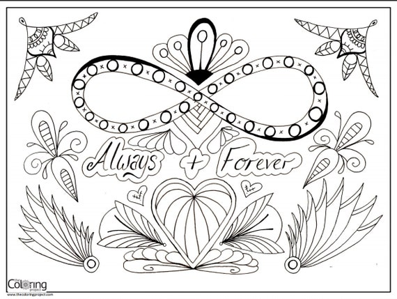 Always Forever Infinity Digital Download Coloring Page 8 Infinity Coloring Pages