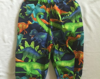 "Handmade Baby Boy Pants In ""Dino"" Print 100% Cotton. Sizes 000 & 00-0"