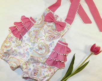 Pink paisly and polka dot romper, infant, toddler and girls'