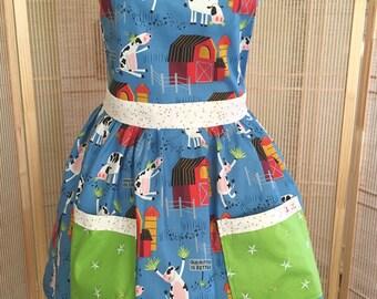 Full apron, cow apron, birthday gift , country apron