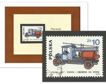 Fire Truck Framed Postage Stamp, Fireman Gift, Father Gift Grandpa, Car Lover Gift Collectors, Recycled Postage Stamp Art, Office Decor Gift