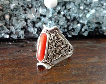 Ring Silver 925 and coral