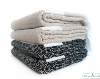 SALE %40 Turkish Towel Diamond Beige/Latte Black Bath Towel Set Beach Towel Set  Peshtemal,Natural Cotton,Turkish Cotton Towel,SET Of 4