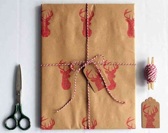 Christmas wrapping paper | Hand printed gift wrap set |  1 sheet of paper 70x100cm/27.5x39.5'' | 2 gift tags | 5m/5yd twine | Red deer