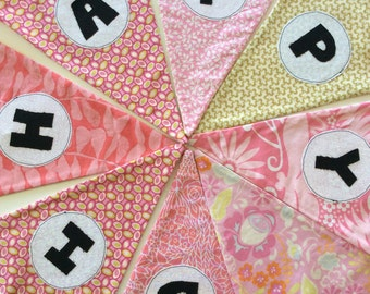 Pink and Green Birthday bunting