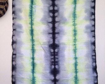 Gray Green Tie Dye Linen Bedding Hippie Neon Throw Blanket Beach Tent Festival Couch