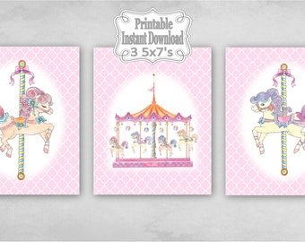 Printable Carousel Horses Merry Go Round Baby Nursery Wall Art Decor Pink Clover Child Kids ~ DIY Instant Download ~ 3 5x7 Prints