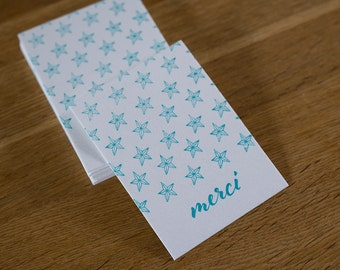 Map letterpress thank you stars
