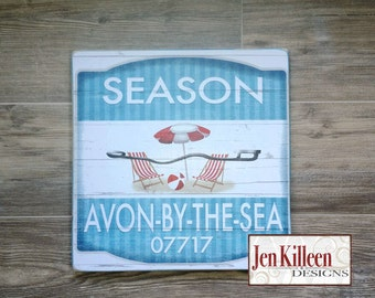 "Jersey Shore ""Avon By The Sea""  Beach Badge Wood Sign // Jersey Shore Art // NJ // Beach Decor // Town Signs // Beach House Sign"