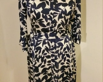 Gina Bacconi Cream and Navy Button Up Dress 10-12