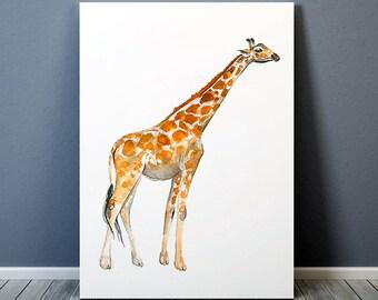 Giraffe print Animal art Wildlife poster Watercolor print ACW568