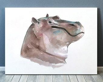 Hippoe art Watercolor print Nursery print Animal poster ACW574