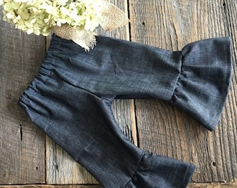 Christmas in July Sale Girls Ruffle Pants - Denim Ruffle Pants