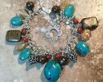 Turquoise, Bronzite, Citrine and Jasper Bracelet