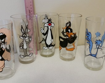 set of 5 vintage pepsi warner bros looney toons drinking glasses - sylvester bugs bunny daffy duck road runner porky pig disney collectibles