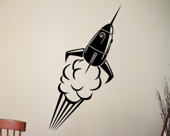 spaceship wall decal rocket sticker home interior design kids