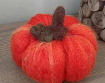 Wool Pumpkin, Felted Pumpkin, orange