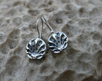 FREE SHIPPING Silver Earrings, Silver Jewelry, , Handmade 925 Silver Earrings, Sea Shell Earrings,
