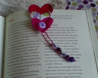Hand stitched heart bookmark